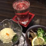 酒場 おか長 - あじ南蛮漬け¥260、ポテトサラダ¥180、純米酒¥350