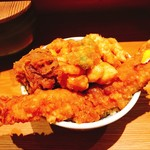 天丼 金子屋 - 天ばら丼(上)の味噌汁セット(1.570円)