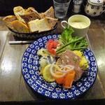 83395423 - プレート(パテとマリネ、パン盛り合わせ、スープ)