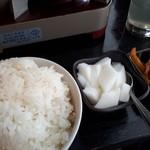 83397686 - ご飯+杏仁豆腐+御新香