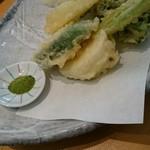 なかやしき - 野菜の天ぷら。かぶ、ゴーヤ、ズッキーニ、玉ねぎなど。