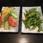 久香亭 - ファミリーコース 野菜サラダと枝豆
