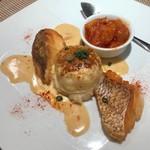 セラヴィーナガノ - 真鯛のポワレとモンゴイカのフラン、 グラサージュソース焼き