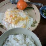 かすみ食堂 - 海老と玉子のフワフワ炒め、定食にした。