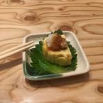 き田たけうどん - 生ビールに付く一品の出汁巻玉子