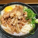 Nihombashisanukiudonhoshino - 肉うどん 冷 玉子 ¥800(18-04)