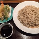 燙菜 - セットの蕎麦大盛りと天ぷらです。