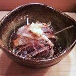 寿司勝 - お通しの炙り鯵