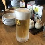 あおぞら銭函3丁め - 生ビール、520円です。