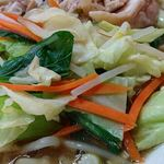 好味苑 - 好味苑 @本蓮沼 日替わりランチB 鶏肉麺に盛られるキャベツ・ほうれん草・人参・モヤシ炒め