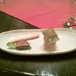 mignon hotel de noel - のりがのっているのはお餅です。変り種前菜w