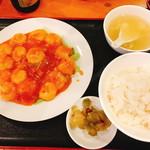 来福源 - 海老チリ定食(850円:税込)