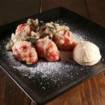 イタリアン食堂 - 4月のおすすめ☆いちごのフリット 自家製クリームチーズ添え