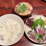 仙力 - いわし刺 + ご飯 + なめこ汁