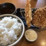 かつはな亭 - ランチセットB 海老フライ&麦豚とんかつ