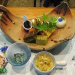 田舎茶屋 千恵 - 前菜♪(旬の食材を使ったお料理は最高でした^^)