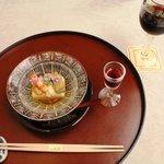 北瑞苑 - 2011/6/22 (先付)玉子豆腐・鰻柔か煮・鞘巻海老・美味出しジュレ