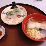 北瑞苑 - (ご飯)鰺棒寿し・生姜酢取・香物