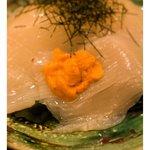 おたる政寿司 - いかそうめん(雲丹付)