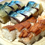 夥汲 - 料理写真:鯖棒ずし・穴子棒ずし 鯖は漁れ漁れ。塩と酢の加減が絶妙。穴子はあっさり味で、最後の〆にうってつけ。