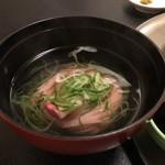 瀬の本館 夢龍胆 - 煮物椀(あいなめにゅう麺)