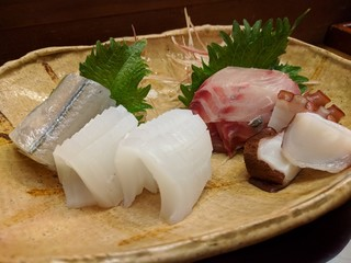 勝寿し - お刺身盛り合わせ(カクアジ、サヨリ、アオリイカ、タコ)
