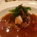 リベロ - ウサギと大麦の焼きファロット 甲殻類のビスク仕立て