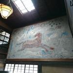 芭蕉 - 棟方志功の壁画              魚心さんは    馬の絵を  お願いしたのに 裸の天女が   (((((゜゜;)      それで 漆喰で 覆ってしまったそうです