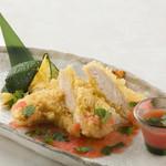 福味鶏のささみの天ぷら 和風明太ソース添え