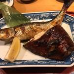 83639288 - 大羽いわしと黒むつ柚香り焼き(1,295円)                       メインの焼き魚2種。