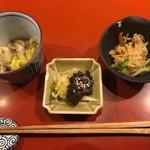 83639295 - 大羽いわしと黒むつ柚香り焼き(1,295円)                       小鉢2種、お漬物。