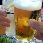 蒲田温泉 - スーパードライとレモンサワーで乾杯!