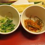 天ぷら やす田 - 途中で味見としてきんぴらとナムル