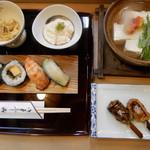 鮨割烹 変わりすし処 ふなおか - 料理写真:紫野セット 湯豆腐、汲み上げ湯葉、小鉢物、生麩田楽、お鮨も、