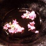 旬味 心和 - お造りに付いてきた花を溜まりに落として戴きます