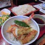 香車 - ランチの天丼&うどんセット
