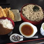 武蔵野 丼ぶり道場 - 料理写真:上天ざる(そば大盛り)&ミニ丼(カレー)