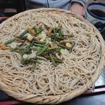 一休 - 冷山菜そば・大盛り(600円+100円)
