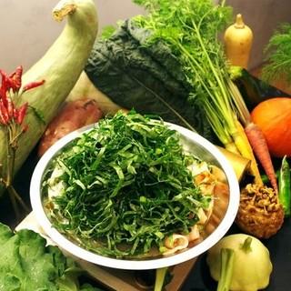 これからの季節がおすすめ!農家のケール火鍋は野菜が食べ放題!