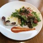 COLK  - ランチコースから… 前菜☆帆立と枝豆のテリーヌ&桜海老の春色サラダ自家製ドレッシング