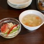 THAIFOOD DINING&BAR マイペンライ - ランチのサラダとスープ