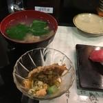 廻る富山湾 すし玉 - 味噌汁、茶わん蒸しと一品が付きます