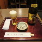 83767664 - 瓶ビール・お通しの「塩豌豆」