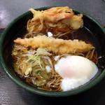 ゆで太郎 - かき揚げ+海老天+温玉というなんだか豪勢な朝食になった