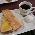 83786129 - 厚切りトースト(ピーナッツバター)、ゆで玉子&岡田ブレンド