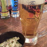 居酒屋 カンカン酒場 - プレミアムモルツ480円 お通し300円