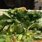 カラシビ味噌らー麺 鬼金棒 - パクチーカラシビ味噌らー麺950円のパクチーのアップ (横から見ると盛り具合が良く分かります)