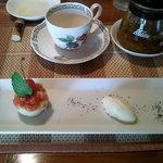 ア・ラ・カンパーニュ - 今でしか味わえない佐藤錦のサクサンボとバニラアイスのデザート、ハーブティのも4種類ありました。