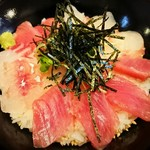 稲月 - 三色海鮮丼(ブリ・ほうぼう・スマ・スズキ)