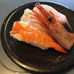 回転寿司横綱 - えび3種盛り